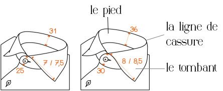 structure du col de chemise