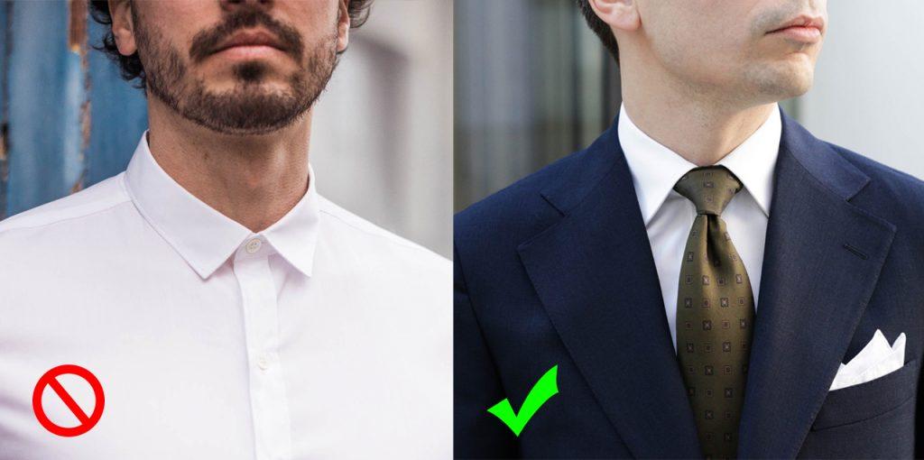 Le choix du col de chemise est déterminant ici opposition