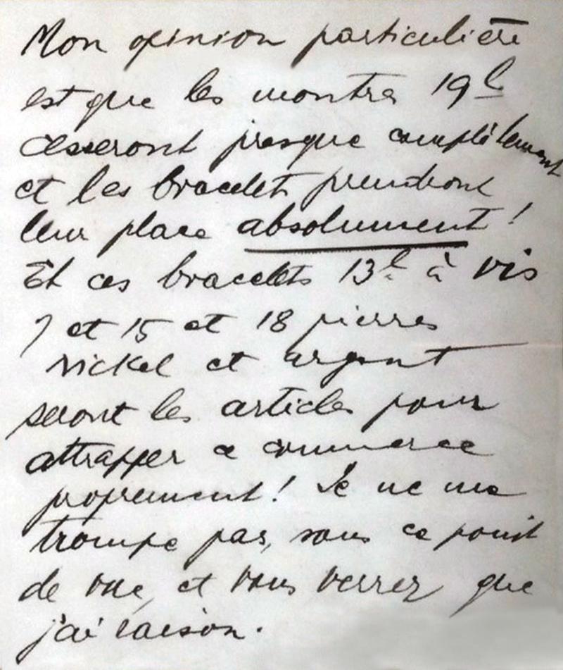 Texte manuscrit de Hans Wilsdorf